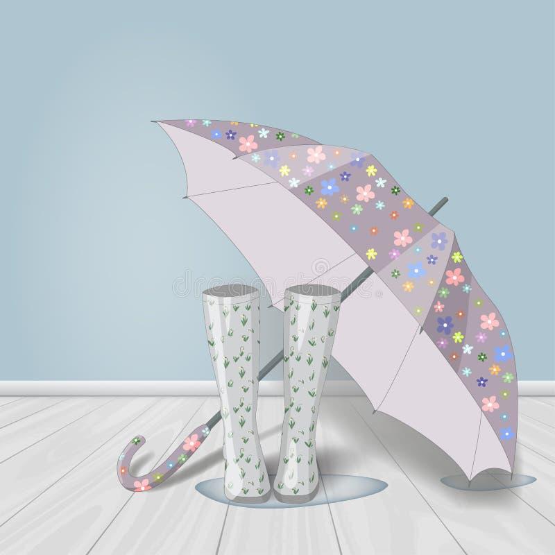 Vector el ejemplo dibujado mano del color en colores pastel de las botas de goma de la impresión floral y abra el paraguas en cha stock de ilustración