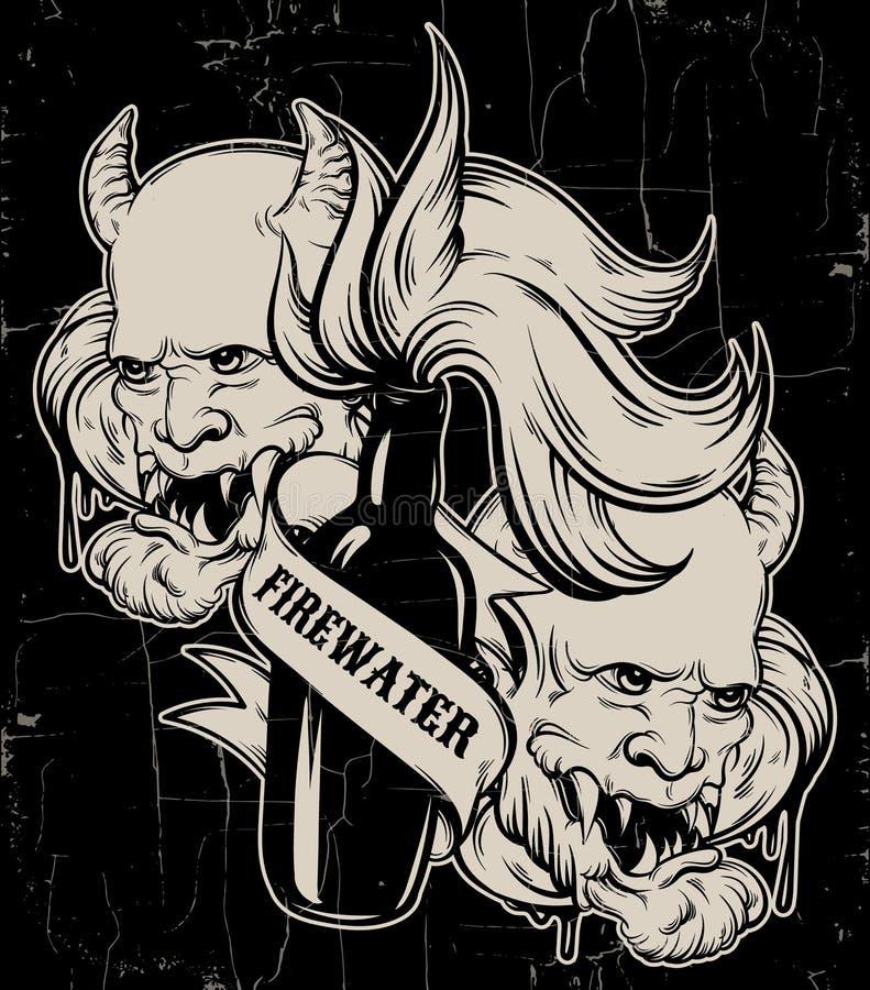 Vector el ejemplo dibujado mano del ` del aguardiente del ` con la cabeza del diablo ilustración del vector