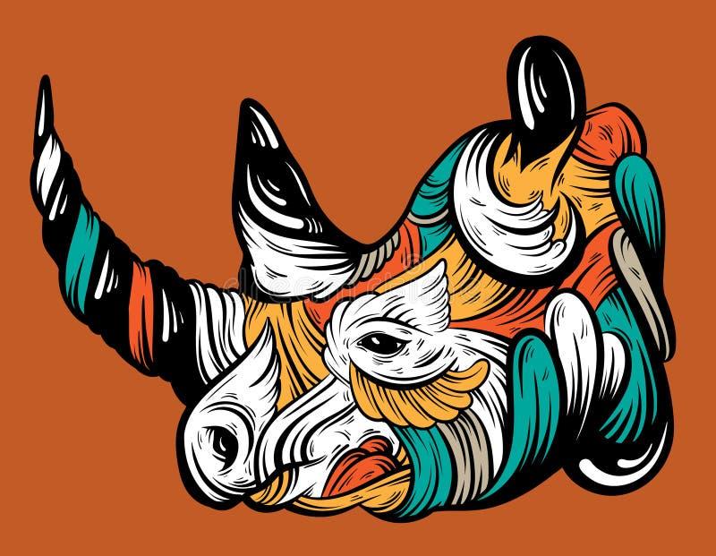 Vector el ejemplo dibujado mano del rinoceronte con los elementos decorativos stock de ilustración