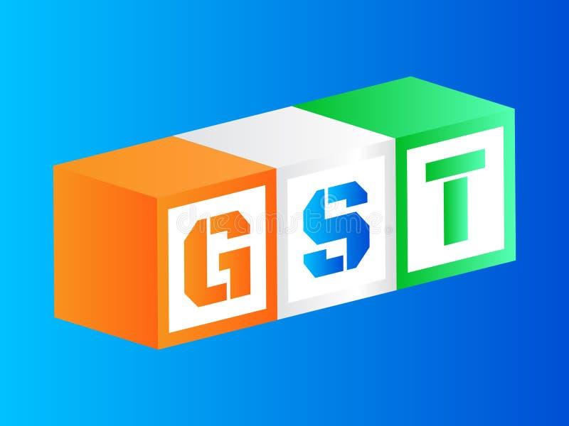 Vector el ejemplo e impuesto de los bienes y servicios o GST fotografía de archivo