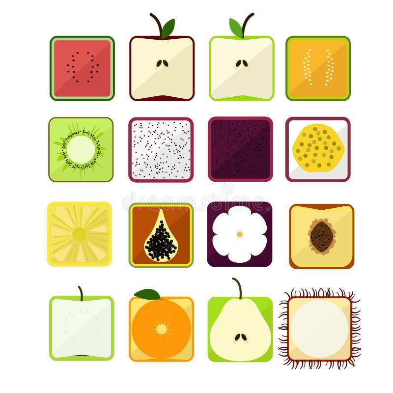 Vector el ejemplo en un papel plano con las sombras, la fruta estilizada cuadrado del estilo de la imagen libre illustration