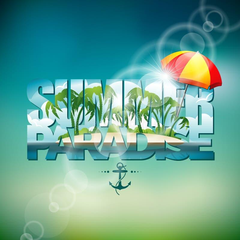 Vector el ejemplo en un tema de las vacaciones de verano con la sombrilla en fondo borroso ilustración del vector