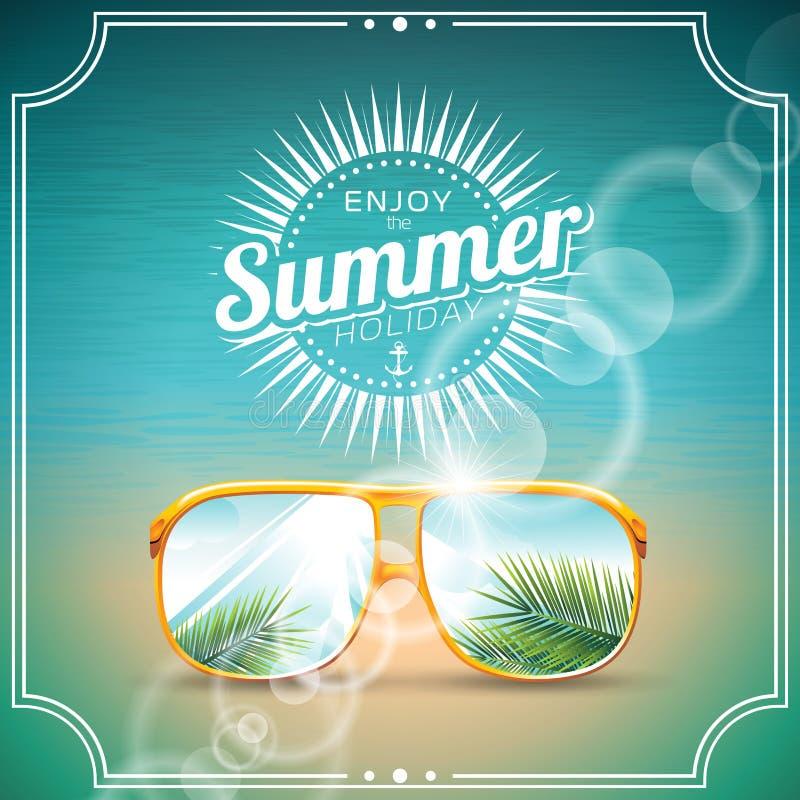 Vector el ejemplo en un tema de las vacaciones de verano con las gafas de sol ilustración del vector