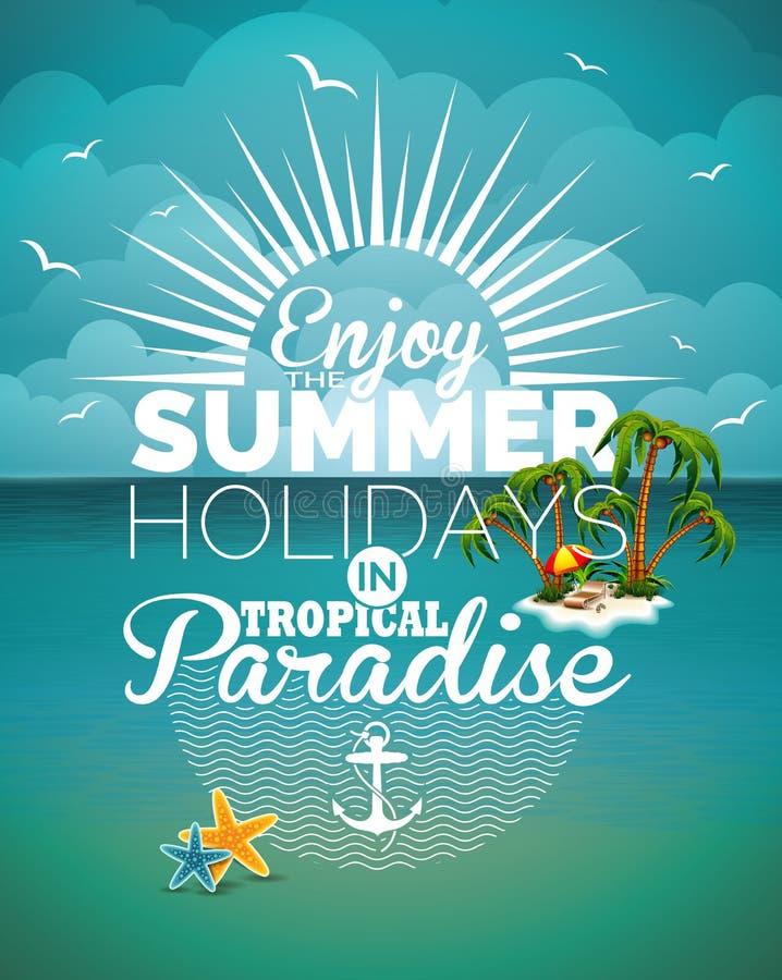 Vector el ejemplo en un tema de las vacaciones de verano en fondo del paisaje marino stock de ilustración