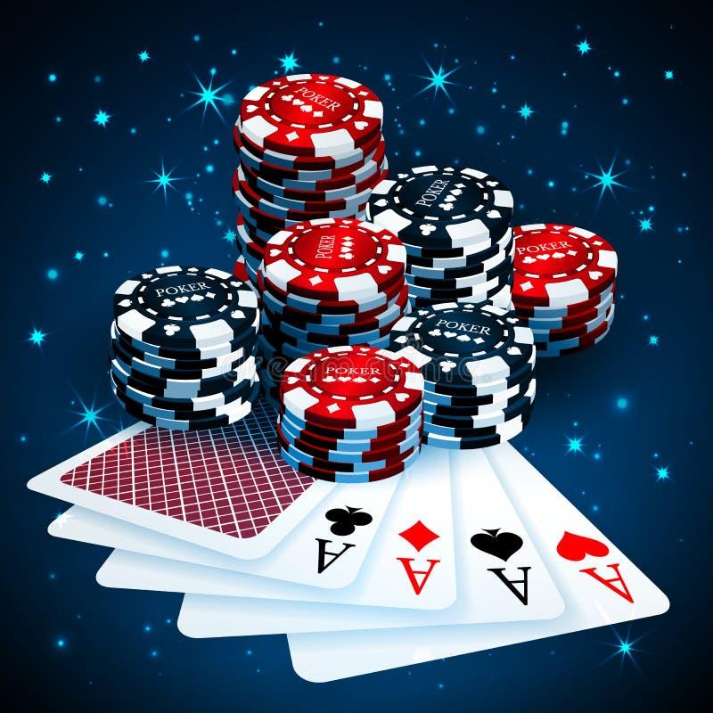 Vector el ejemplo en un tema del casino con jugar microprocesadores y tarjetas del playig en fondo oscuro Elementos de juego del  ilustración del vector