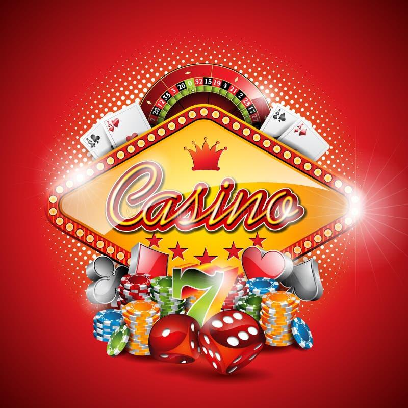 Vector el ejemplo en un tema del casino con los elementos de juego en fondo rojo libre illustration