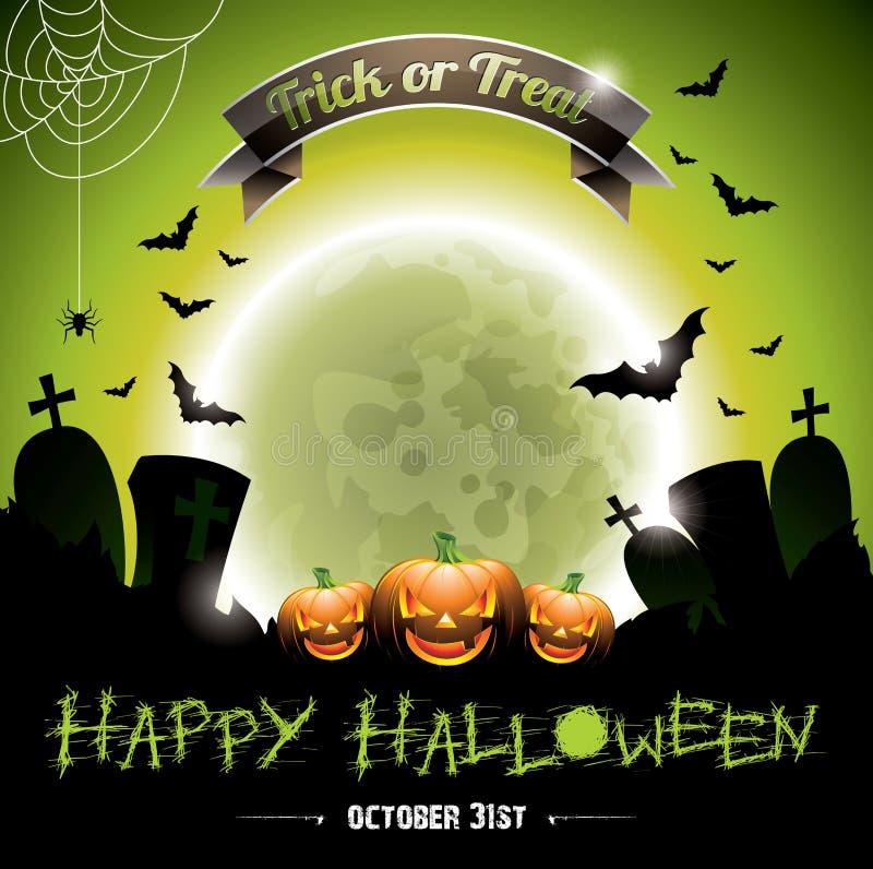 Vector el ejemplo en un tema del feliz Halloween con los pumkins. libre illustration