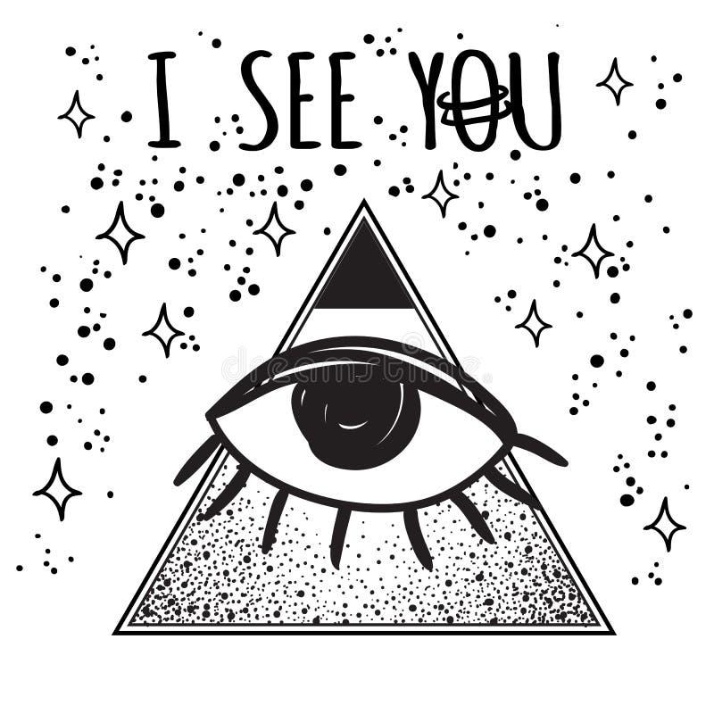 Vector el ejemplo futurista del vector del espacio exterior del estilo retro Todo el símbolo del ojo que ve dentro del tiangle De stock de ilustración