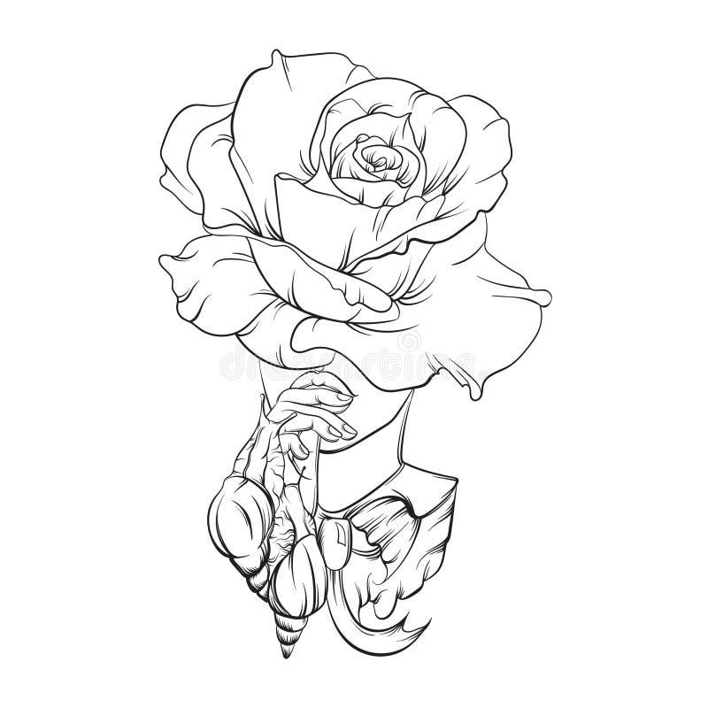 Vector el ejemplo hecho en la línea estilo dibujada mano realista libre illustration