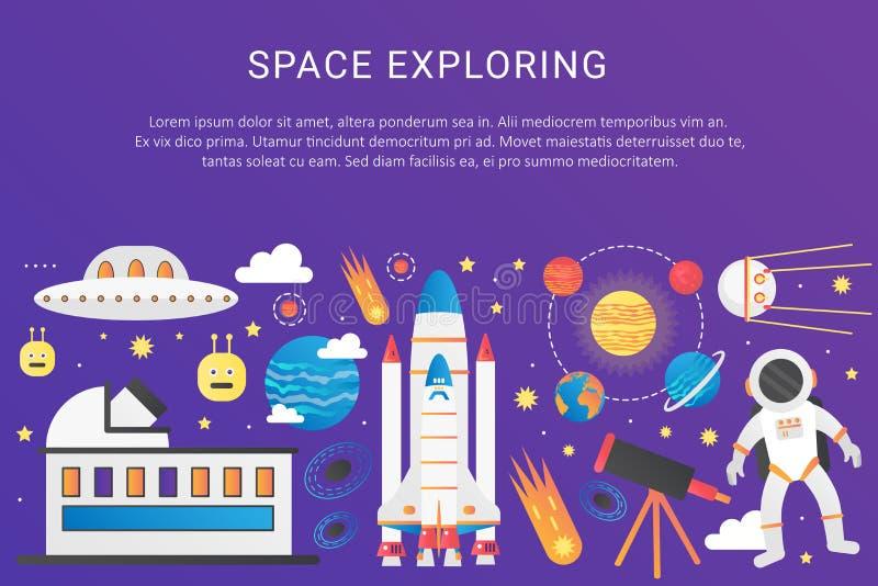Vector el ejemplo infographic de la pendiente del universo plano de moda del color Cohete del vehículo espacial del espacio exter stock de ilustración