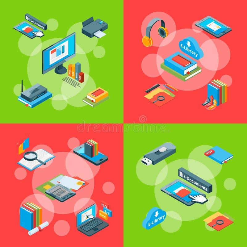 Vector el ejemplo infographic del concepto de los iconos en línea isométricos de la educación ilustración del vector