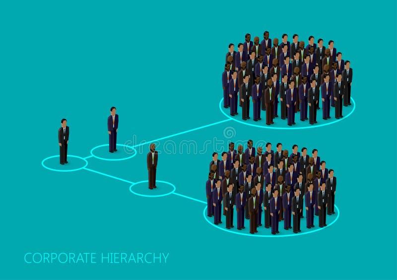 Vector el ejemplo isométrico 3d de una estructura corporativa de la jerarquía Concepto de la dirección organización de la gestión libre illustration