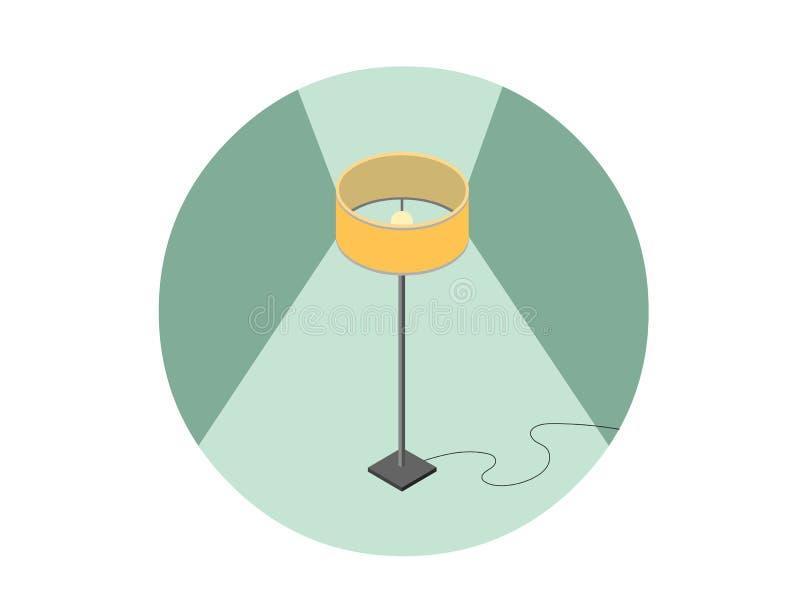 Vector el ejemplo isométrico de la lámpara de pie, elemento plano del diseño interior 3d stock de ilustración