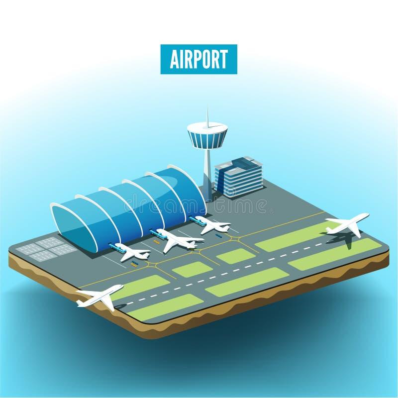 Vector el ejemplo isométrico del aeropuerto con los aeroplanos stock de ilustración