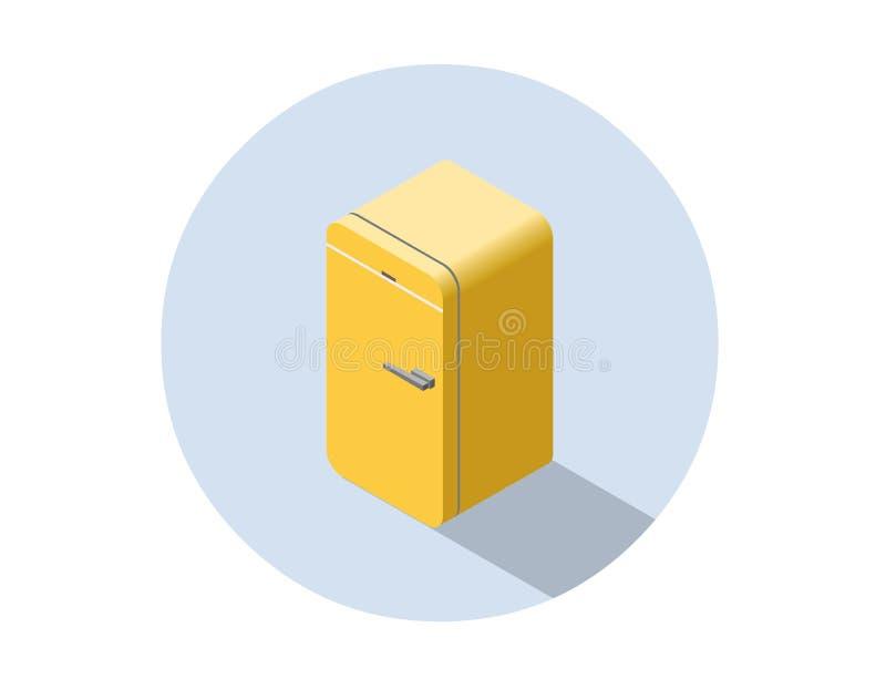 Vector el ejemplo isométrico del refrigerador amarillo, refrigerador plano 3d stock de ilustración