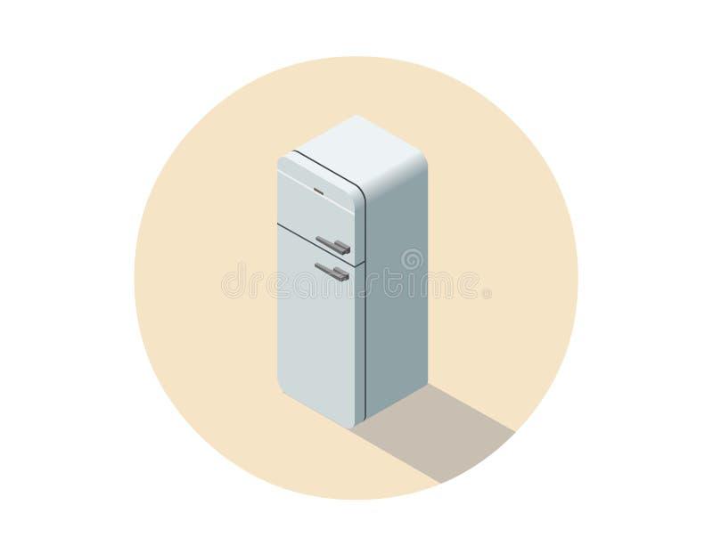 Vector el ejemplo isométrico del refrigerador blanco, equipo de la cocina ilustración del vector