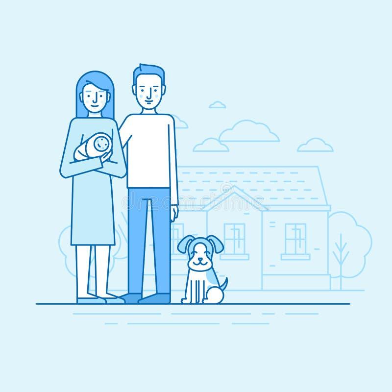 Vector el ejemplo linear plano en colores azules - fam joven feliz stock de ilustración