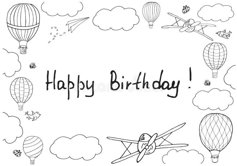 Vector el ejemplo, ` manuscrito del feliz cumpleaños del ` de las palabras libre illustration