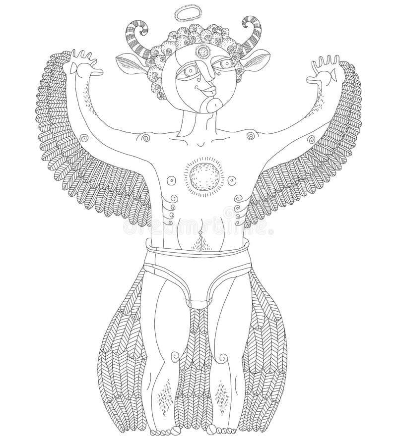 Vector el ejemplo monocromático gráfico dibujado mano del cre extraño ilustración del vector
