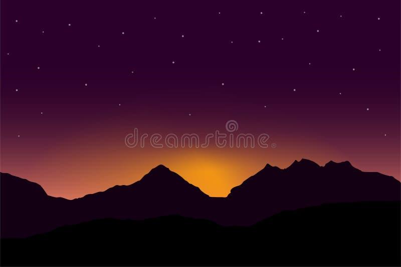 Vector el ejemplo panorámico de la salida del sol sobre paisaje de la montaña con el cielo púrpura dramático libre illustration
