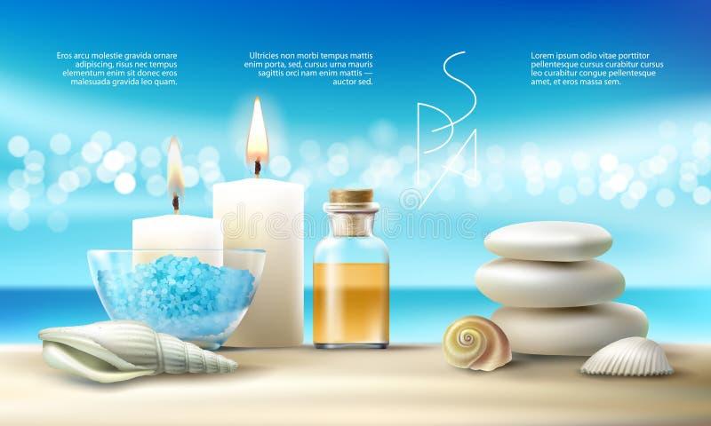 Vector el ejemplo para los tratamientos del balneario con la sal aromática, aceite del masaje, velas stock de ilustración