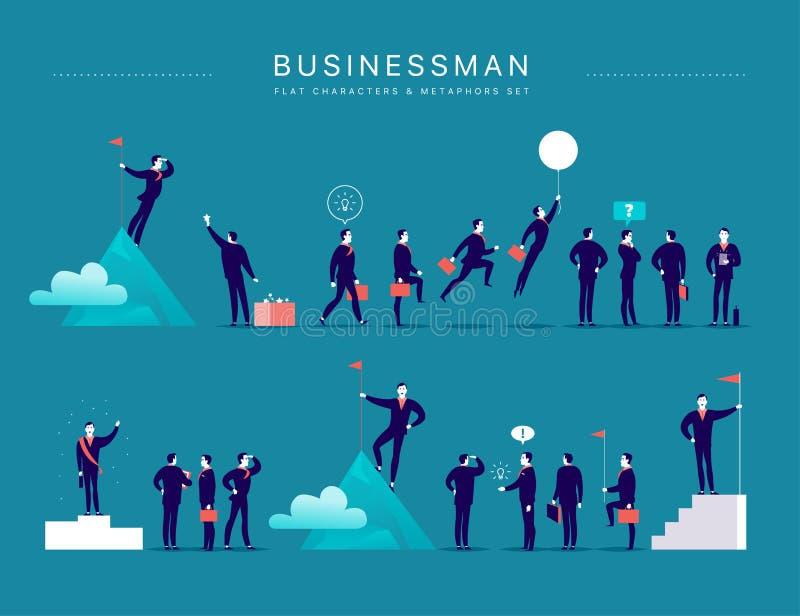Vector el ejemplo plano con los caracteres y las metáforas de la oficina del hombre de negocios aislados en fondo azul ilustración del vector