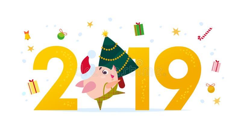 Vector el ejemplo plano de la Feliz Navidad con el número 2019 y el pequeño duende feliz del cerdo en el árbol de abeto del sombr stock de ilustración