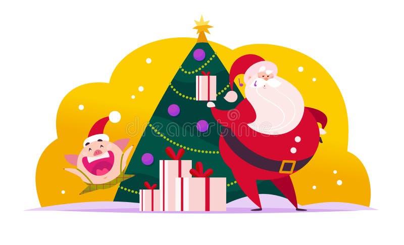 Vector el ejemplo plano de la Feliz Navidad con Santa Claus, duende lindo del cerdo en el árbol de abeto del Año Nuevo y las caja libre illustration