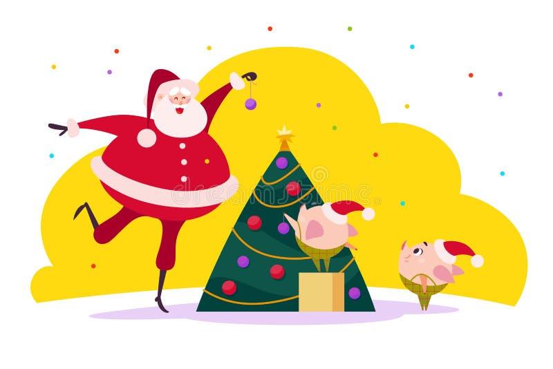 Vector el ejemplo plano de la Feliz Navidad con Santa Claus y dos compañeros lindos del duende del cerdo libre illustration