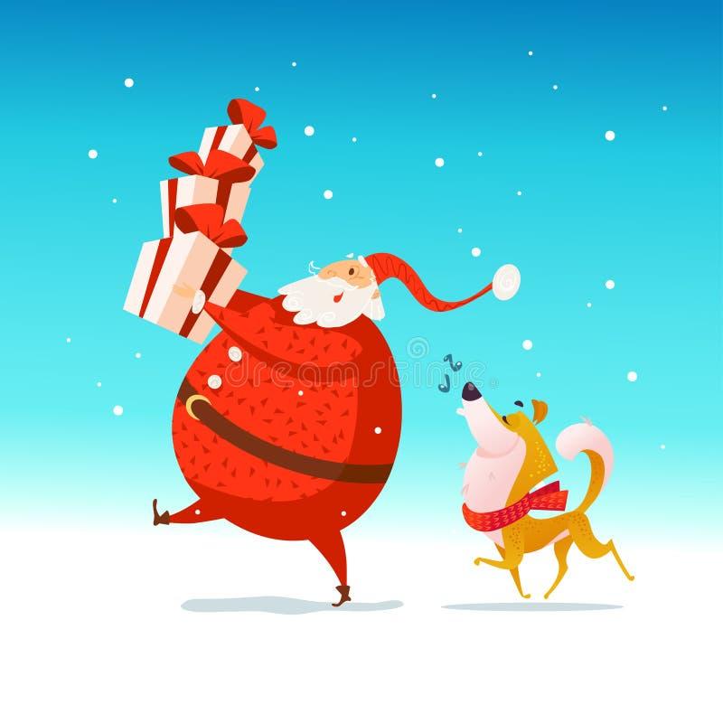 Vector el ejemplo plano de la Feliz Navidad con santa feliz que sostiene las cajas y el perro de regalo en el sombrero de santa e stock de ilustración