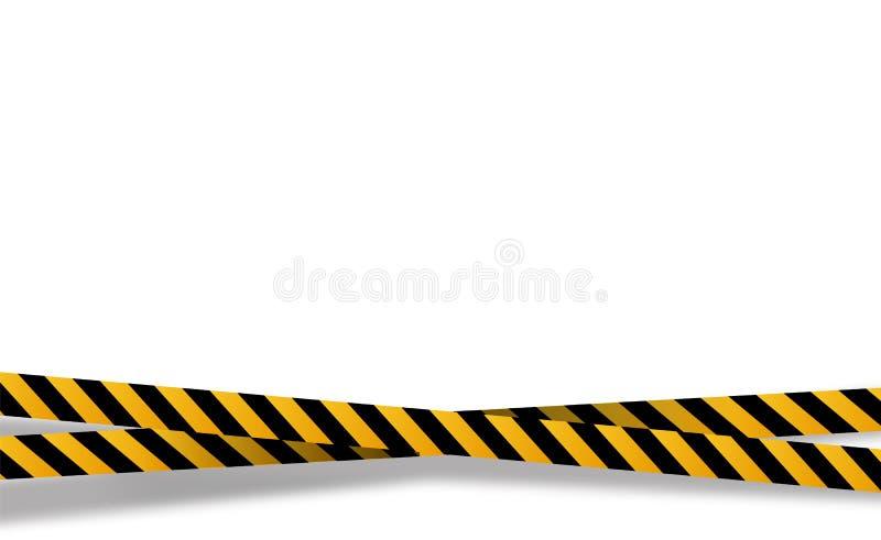 Vector el ejemplo plano de la historieta del estilo aislado en fondo Rayas negras y amarillas fijadas Cintas amonestadoras E ilustración del vector
