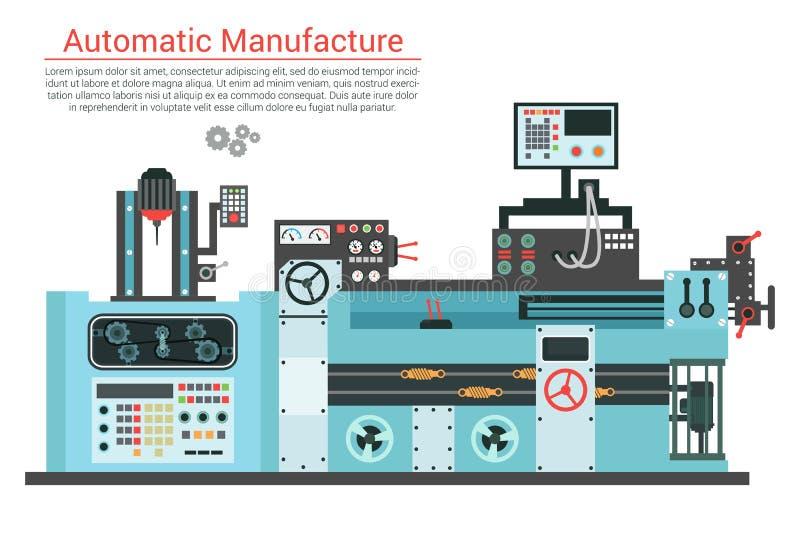 Vector el ejemplo plano de la máquina compleja de la ingeniería con la bomba, tubo, cable, rueda del diente, transformación, gira stock de ilustración