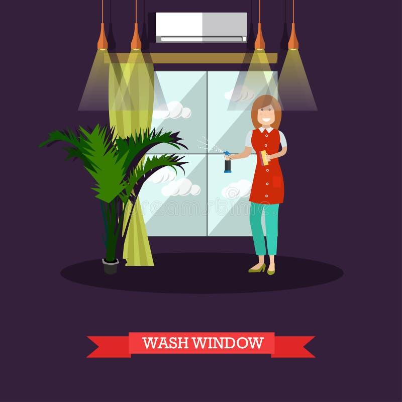 Vector el ejemplo plano de la ventana que se lava de la señora de la limpieza libre illustration