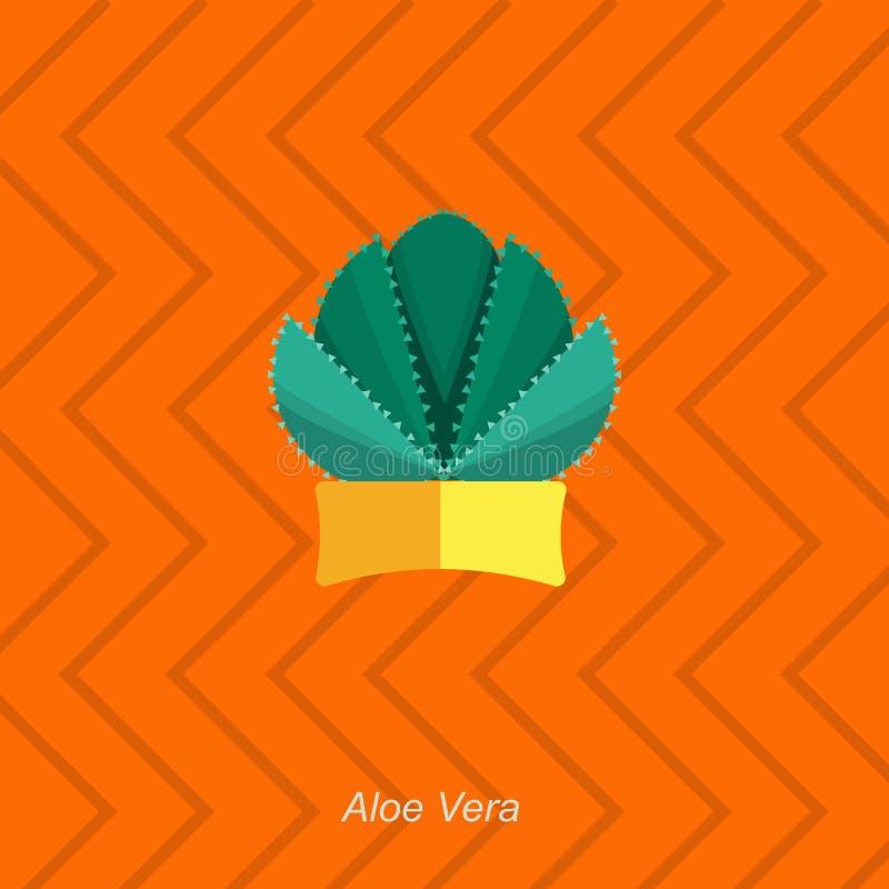 Vector el ejemplo plano del áloe homeplant interior Vera en pote stock de ilustración