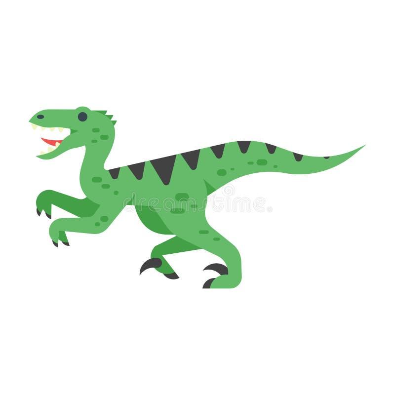 Vector el ejemplo plano del estilo del animal prehistórico - Velociraptor stock de ilustración