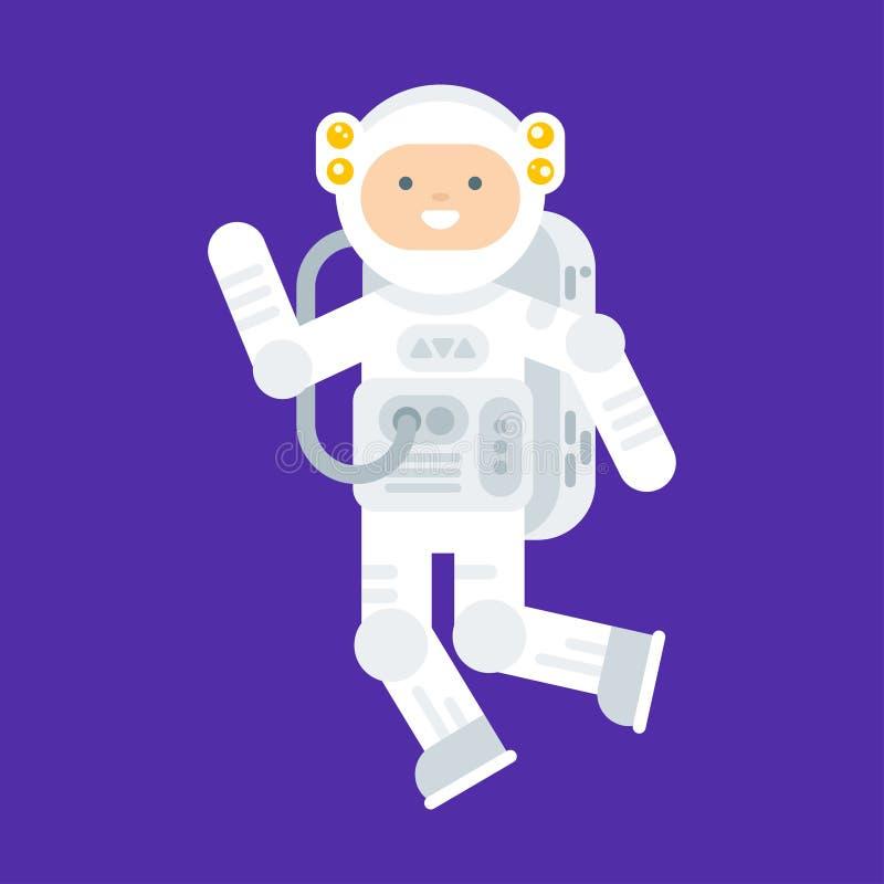 Vector el ejemplo plano del estilo del astronauta feliz en traje de espacio ilustración del vector