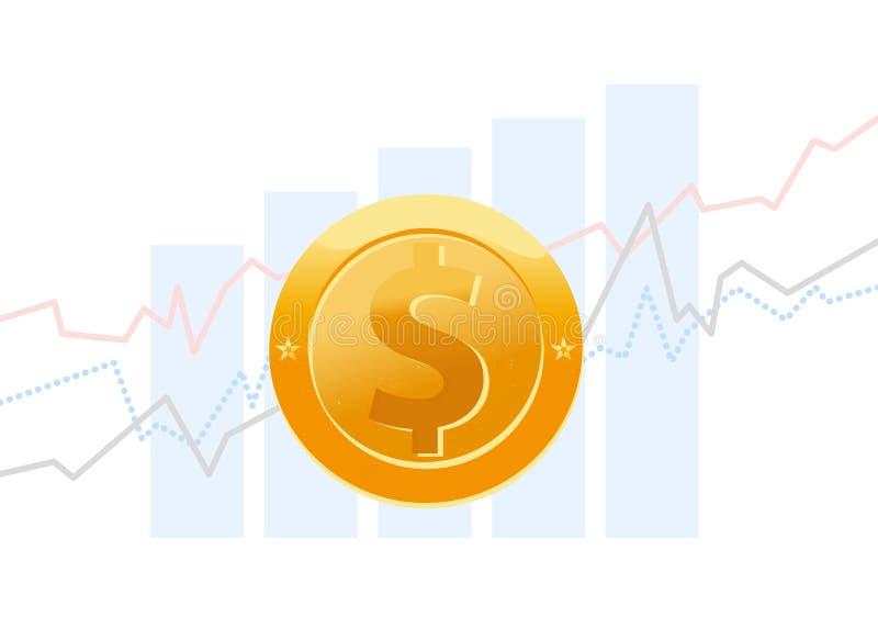 Vector el ejemplo plano del negocio de gráficos y del diagrama y la flecha con la moneda de oro con la muestra de dólar aislada e ilustración del vector