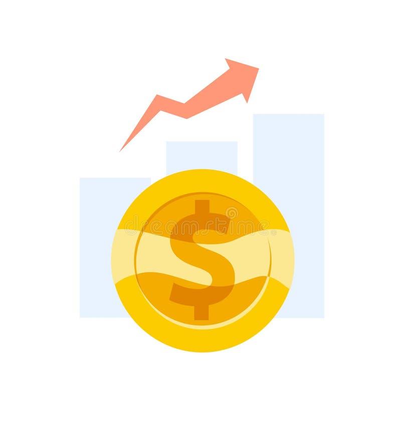 Vector el ejemplo plano del negocio de gráficos y del diagrama y la flecha con la moneda de oro con la muestra de dólar en el fon stock de ilustración