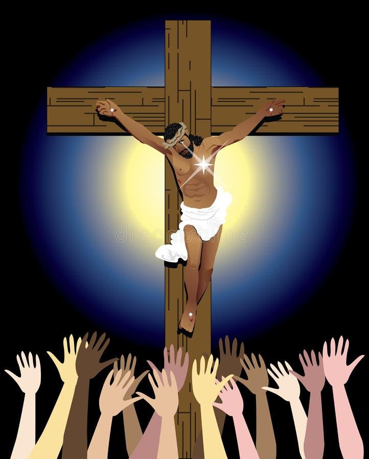 Muchedumbre cruzada de Jesús stock de ilustración