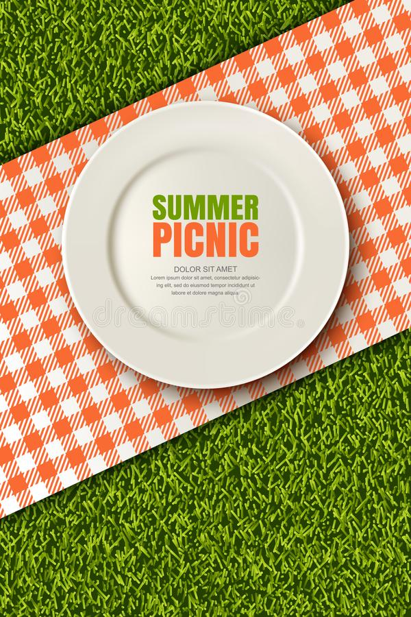 Vector el ejemplo realista 3d de la placa, tela escocesa roja en césped de la hierba verde Comida campestre en parque Bandera, pl ilustración del vector