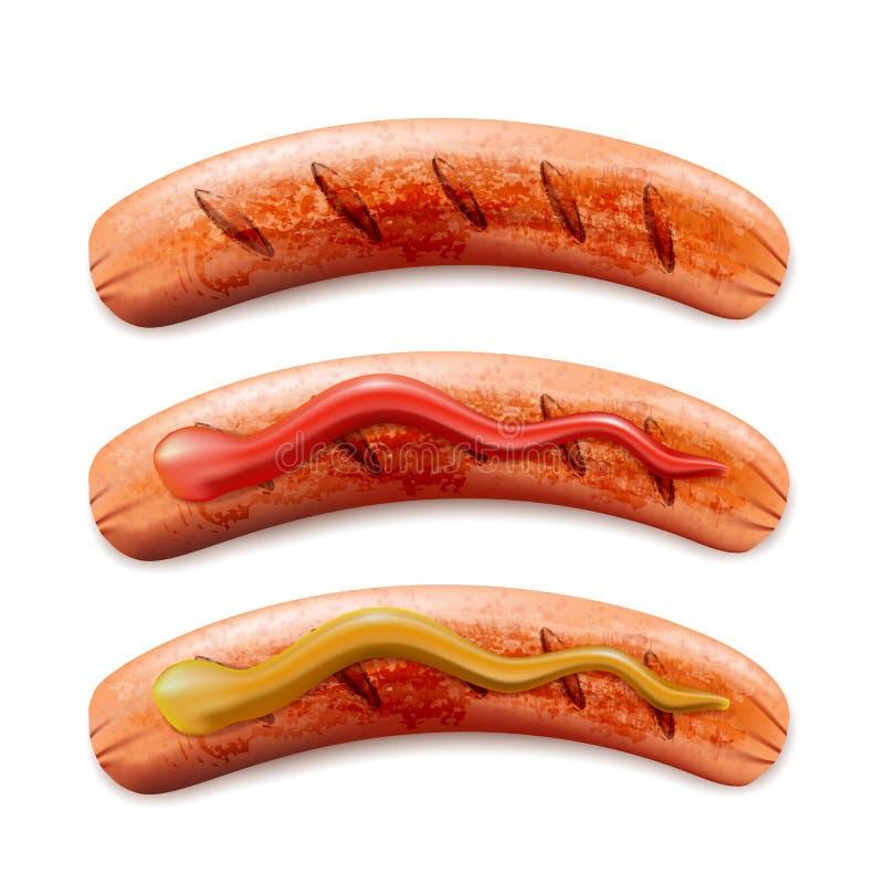 Vector el ejemplo realista 3d de la salchicha asada a la parrilla con la salsa de tomate y la mostaza, aislado en el fondo blanco libre illustration