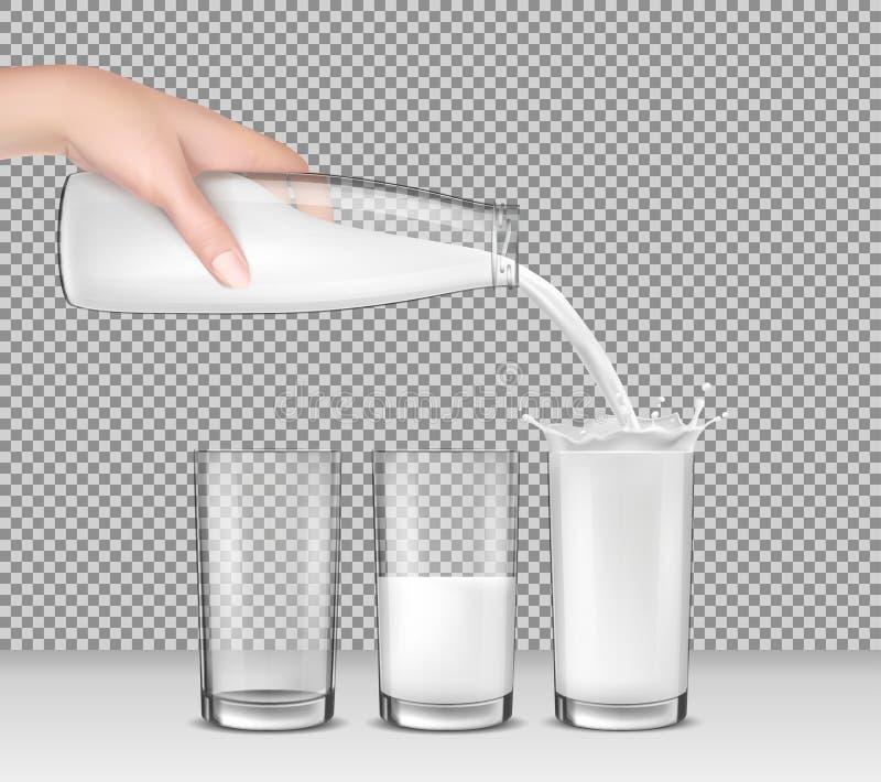 Vector el ejemplo realista, mano que sostiene una botella de cristal de leche, leche que vierte en los vidrios de consumición ilustración del vector