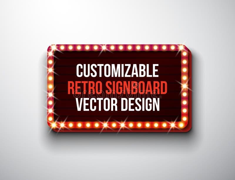 Vector el ejemplo retro del letrero o del lightbox con diseño adaptable en fondo limpio Bandera o vintage ligera stock de ilustración