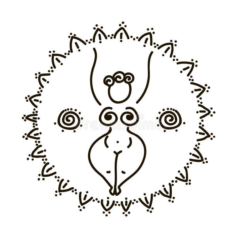 Vector el ejemplo símbolo femenino y de todo el que ve del ojo y geometría sagrada ilustración del vector