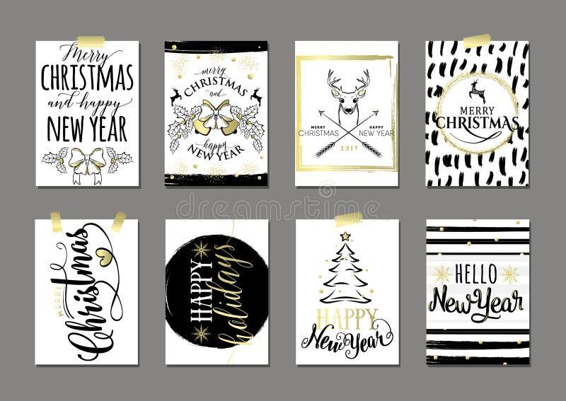 Vector el ejemplo sistema de tarjeta de la Feliz Navidad y de la Feliz Año Nuevo libre illustration