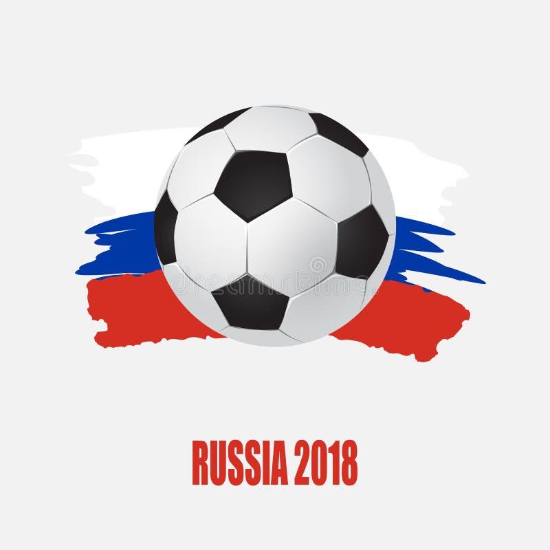 Vector el ejemplo, taza del fútbol del logotipo en el fútbol Rusia 2018 sistema del diseño gráfico de banderas con abstracciones  stock de ilustración