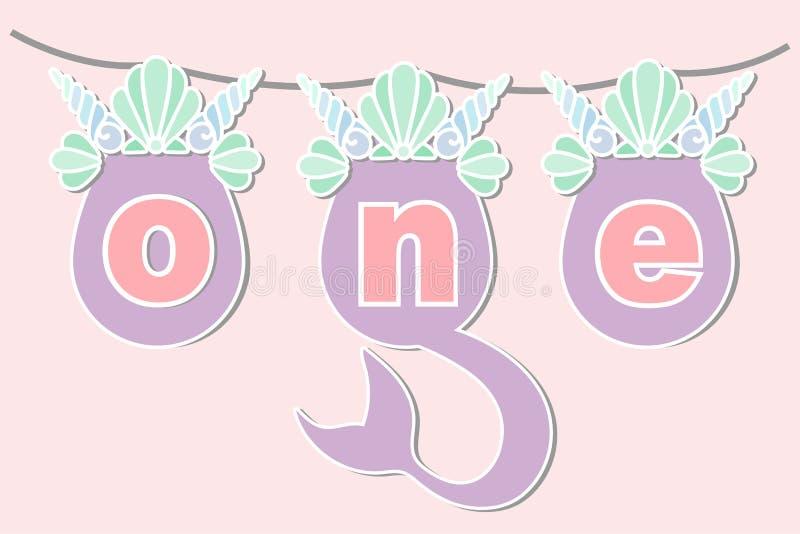 Vector el ejemplo uno con la cola de la sirena, mar Shell Crown libre illustration