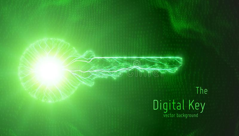 Vector el ejemplo verde de la llave cibernética en fondo binario Concepto de seguridad cibernética y de protección de datos grand stock de ilustración