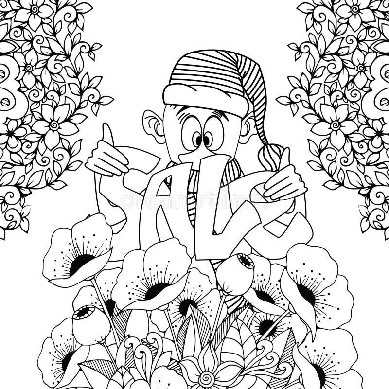 Vector el ejemplo Zen Tangle, gnomo que lleva a cabo la inscripción de la venta Flores del garabato Tensión anti del libro de col libre illustration