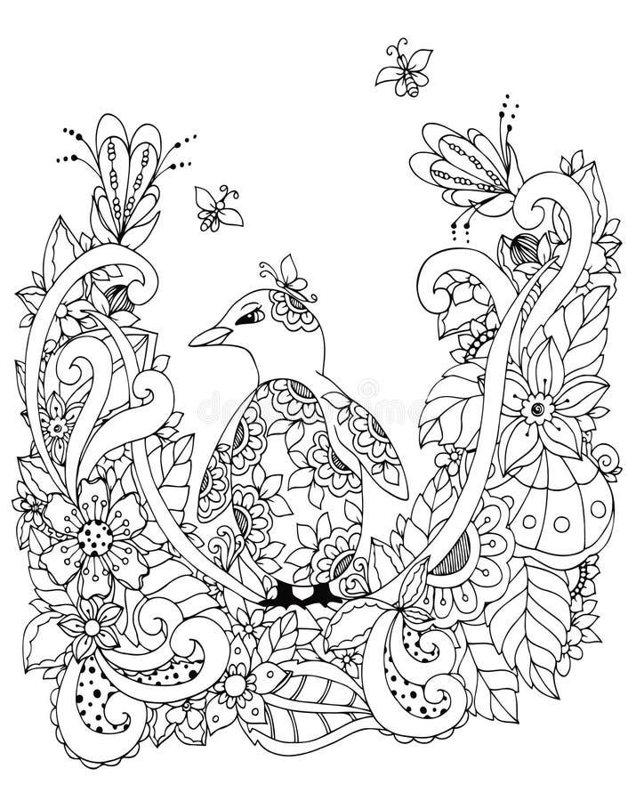 Vector el ejemplo Zen Tangle, un pingüino en marco de la flor Dibujo del garabato Tensión anti del libro de colorear para los adu libre illustration